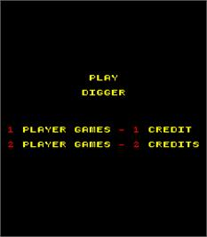 Title screen of Digger on the Arcade.