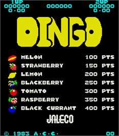 Title screen of Dingo on the Arcade.