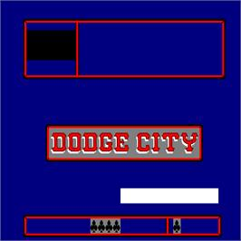 Title screen of Dodge City on the Arcade.