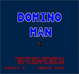 Title screen of Domino Man on the Arcade.