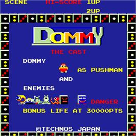 Title screen of Dommy on the Arcade.