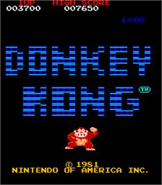 Title screen of Donkey Kong on the Arcade.