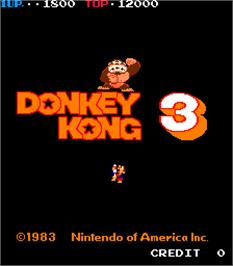 Title screen of Donkey Kong 3 on the Arcade.
