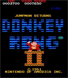 Title screen of Donkey Kong II - Jumpman Returns on the Arcade.