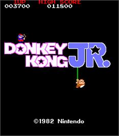 Title screen of Donkey Kong Jr. on the Arcade.