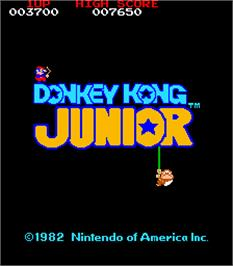 Title screen of Donkey Kong Junior on the Arcade.