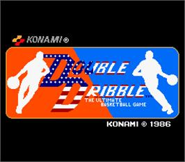 Title screen of Double Dribble on the Arcade.