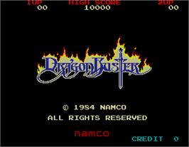 Title screen of Dragon Buster on the Arcade.