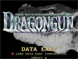 Title screen of Dragon Gun on the Arcade.