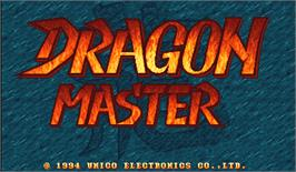 Title screen of Dragon Master on the Arcade.