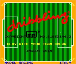 Title screen of Dribbling on the Arcade.