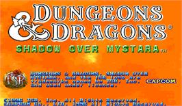 Title screen of Dungeons & Dragons: Shadow over Mystara on the Arcade.