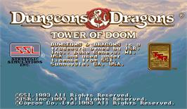 Title screen of Dungeons & Dragons: Tower of Doom on the Arcade.