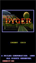 Title screen of Dyger on the Arcade.