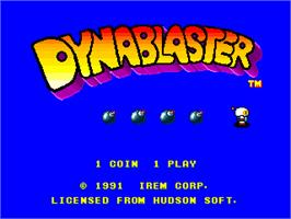Title screen of Dynablaster / Bomber Man on the Arcade.