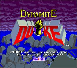 Title screen of Dynamite Duke on the Arcade.