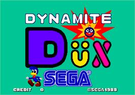 Title screen of Dynamite Dux on the Arcade.