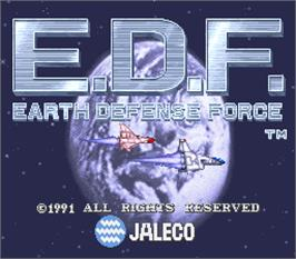 Title screen of E.D.F. : Earth Defense Force on the Arcade.