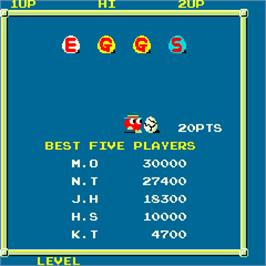 Title screen of Eggs on the Arcade.