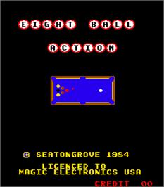 Title screen of Eight Ball Action on the Arcade.