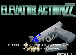 Title screen of Elevator Action II on the Arcade.