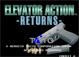 Title screen of Elevator Action Returns on the Arcade.
