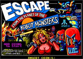 Title screen of Escape from the Planet of the Robot Monsters on the Arcade.