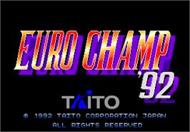 Title screen of Euro Champ '92 on the Arcade.