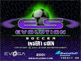 Title screen of Evolution Soccer on the Arcade.