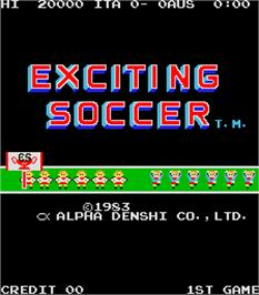Title screen of Exciting Soccer on the Arcade.