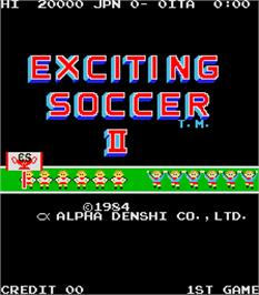 Title screen of Exciting Soccer II on the Arcade.