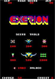 Title screen of Exerion on the Arcade.