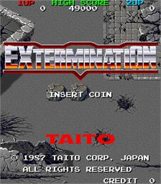 Title screen of Extermination on the Arcade.