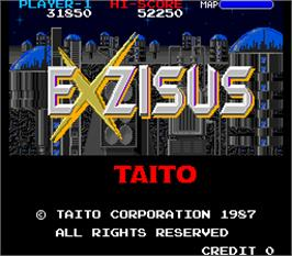 Title screen of Exzisus on the Arcade.
