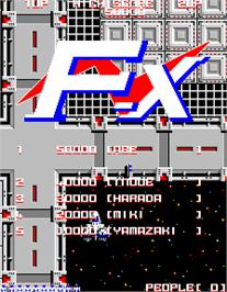 Title screen of F-X on the Arcade.