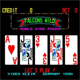 Title screen of Falcons Wild - World Wide Poker on the Arcade.