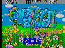 Title screen of Fantasy Zone 2 on the Arcade.