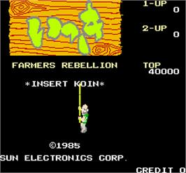 Title screen of Farmers Rebellion on the Arcade.
