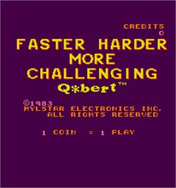 Title screen of Faster, Harder, More Challenging Q*bert on the Arcade.