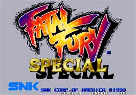 Title screen of Fatal Fury Special / Garou Densetsu Special on the Arcade.