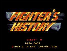 Title screen of Fighter's History on the Arcade.