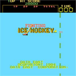 Title screen of Fighting Ice Hockey on the Arcade.