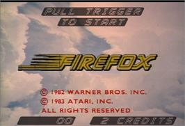 Title screen of Fire Fox on the Arcade.