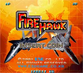 Title screen of Fire Hawk on the Arcade.