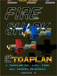 Title screen of Fire Shark on the Arcade.