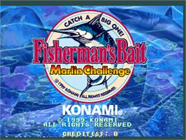Title screen of Fisherman's Bait - Marlin Challenge on the Arcade.