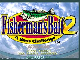 Title screen of Fisherman's Bait 2 - A Bass Challenge on the Arcade.