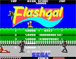Title screen of Flashgal on the Arcade.