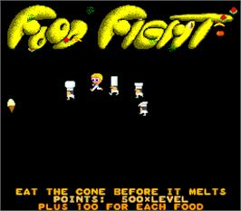 Title screen of Food Fight on the Arcade.