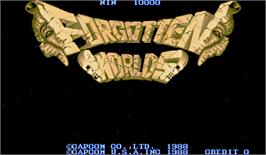 Title screen of Forgotten Worlds on the Arcade.